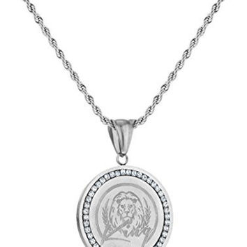 Stainless Steel Round Lion Head Pendant with Stones and a 23.5 Inch Rope Chain