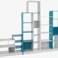 MILES GREENS MDF Linen white and agate blue low shelving unit - HabitatUK