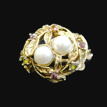 Vintage Pearl And Rhinestone Ring Bird Nest Ring Double Pearl Ring Rhinestone And Pearl Ring Cocktail Ring