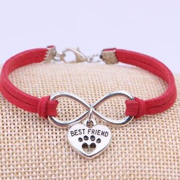 Vintage Silver Infinity Dogs Paw Best Friend Cat Bracelet Jewelry Charm Mixed Velvet Rope Cuff Bangles Women Accessories Gift