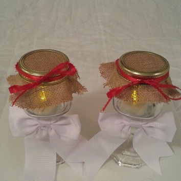 Burlap white red wedding candle jar / center piece set. Any color to match your wedding