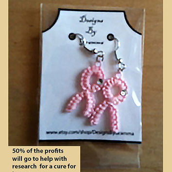 Pink Ribbon Breast Cancer Awareness Dainty Tatted Earrings 4 Pair