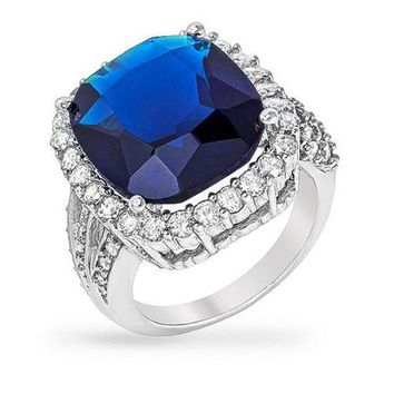 Caroline 8ct Sapphire CZ White Gold Rhodium Cocktail Ring