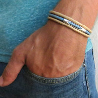 Men's Bracelet - Blue And Beige Fabric Bracelet With Silver Plated Tube Pendant - Men's Jewelry - Tube Jewelry - Gift for Him