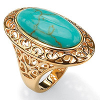 Palm Beach Jewelry Gold Plated Simulated Turquoise Filigree Ring