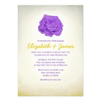 Trendy Floral Purple and Gold Wedding Invitations