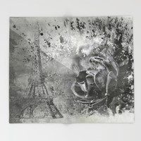 Last Time I Saw Paris Throw Blanket by Theresa Campbell D'August Art