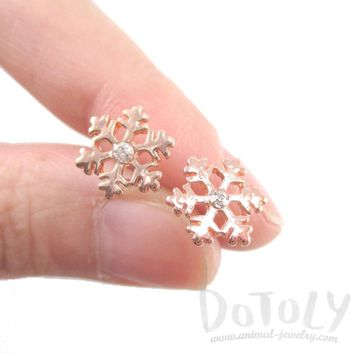 Small Snowflake Shaped Stud Earrings in Rose Gold with Rhinestones | DOTOLY