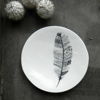 Feather Porcelain Ring Dish, Black White Ceramic Plate, Henna Inspired Jewelry Dish, Trinket Dish, Henna Art, Feather Pottery Home Decor