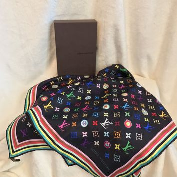 "NIB LOUIS VUITTON Black Multicolor ""EYE"" Monogram 100% Silk Scarf, 27"" Square"