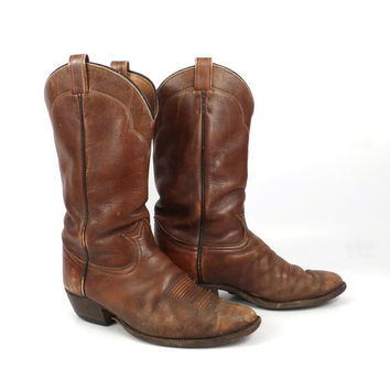 Cowboy Boots Vintage 1980s Distressed Tony Lama Leather Brown  Men's 10 E