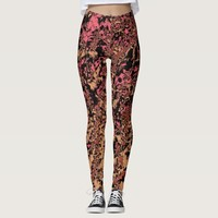 Hot Pink Black Peach Abstract Yoga Workout Running Leggings