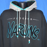 90s Florida Marlins Hooded Sweatshirt Large