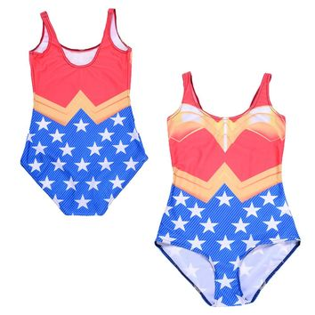 Sexy Wonder Woman Costume One Piece Swimsuit Swimwear Cosplay Wonder Woman Bodysuit Summer Beach Bathing Suit Swim Monokini