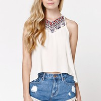 LA Hearts Embroidered Cropped Top - Womens Shirts