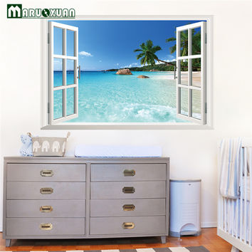 Huge 90*60CM Removable Beach Sea 3D Window View Scenery Wall Sticker Decor Decals for Living Room and Bedrooms