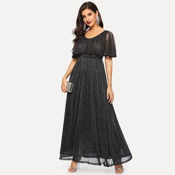 Black Glamorous High Waist Flare Glitter Cape Maxi Dress Women Solid Elegant Scoop Neck A-Line Long Party Dresses