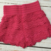 Lace Shorts: Pink