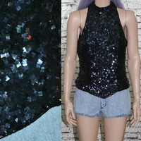 90s beaded crop top blouse tank cyber goth grunge hipster festive boho pastel goth 70s hippie high neck party dress club kid gown M L