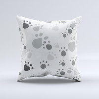 Gray & White Large Paw Prints ink-Fuzed Decorative Throw Pillow