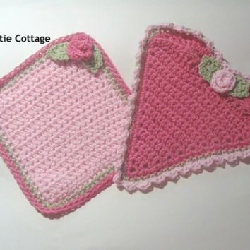 Crocheted Washcloths, Set of 2, Heart and Square with Rose, Cotton, Ready to Ship