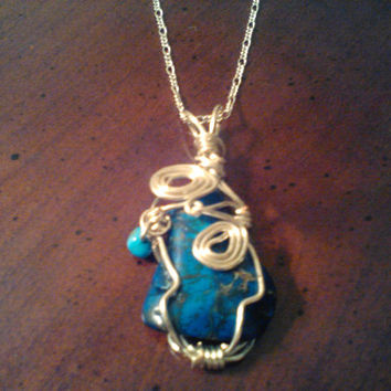 """Gold and Blue Wire Wrapped Bohemian Necklace, Large Agate Teal, 2"""" Pendant on Gold Chain, Hippie Jewelry, Earth Stones, Natural Necklaces"""