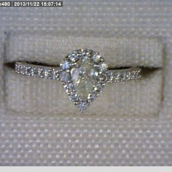 Lady's White 18 Karat Contemporary Engagement Ring With Pear Diamond