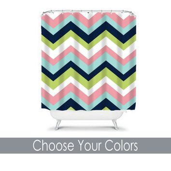 Chevron SHOWER CURTAIN Custom MONOGRAM Personalized Chevron Bathroom Decor Pink Navy Aqua Lime Colors Bath Towel,  Bath Mat