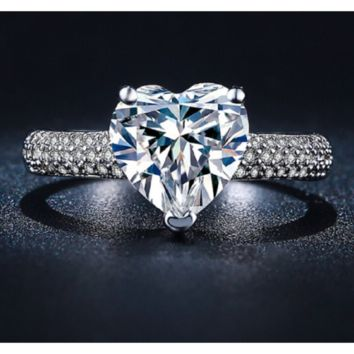 White Gold Plated Cubic Zirconia Wedding Heart Style RIng for Women