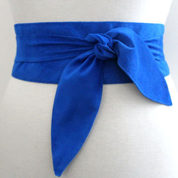 Blue Suede Obi Belt tulip tie| Waist Belt | Suede Tie Belt | Real Suede Leather Belt| Handmade Belt | Plus size belts