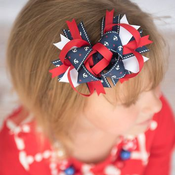4th Of July Hair Bow - Nautical hair bow | Navy boutique bow