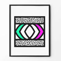 Neon Square Wall Art, Geometric Print, Black and White, Colorful, Pink, Green, wall decor, inspirational, abstract art, lined