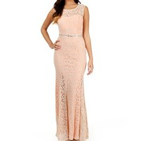 Parnella-Ivory/Peach Lace Prom Dress