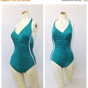 MAY SALE Vintage 1970s Bathing suit Teal Blue One Piece 1980s Bathing Suit Medium Small Retro Swimsuit Babe Hipster Punk Sporty Swimsuit Hal