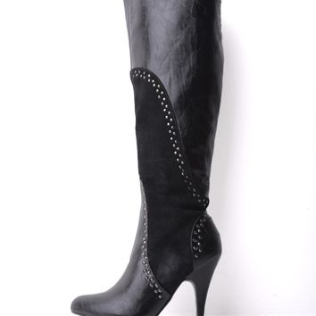 Pilar Abril Leather Studded Long Boots in Black