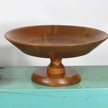 Unique Ozark Walnutware Pedestal Bowl • Vintage from 13th Street JN53