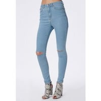 Missguided - Edie High Waisted Ripped Knee Skinny Jeans Bleached Blue