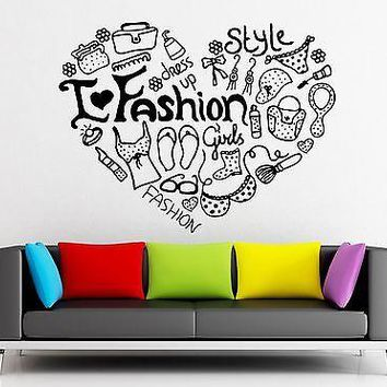 Wall Stickers Vinyl Decal Fashion Style Shopping Dress Up Girl Woman Unique Gift (ig1742)