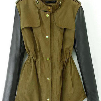 Army Green Leather Sleeves Belted Coat