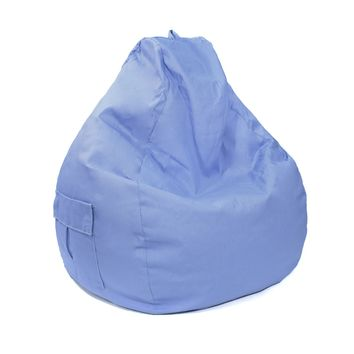 Large Tear Drop Demin Look Bean Bag with Pocket Blue