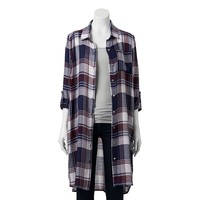 About A Girl Roll Sleeve Plaid Super Tunic Top - Juniors, Size: