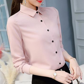 Female Blusas Spring Blouse Office Lady Slim Pink Shirts Women Blouses Leisure Long Sleeve Plus Size Tops Casual Shirt