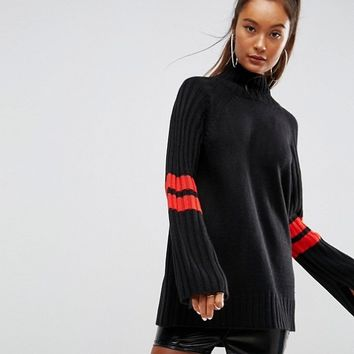 ASOS Tunic Sweater with Contrast Sports Stripe at asos.com