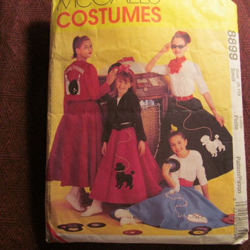 Sale Uncut/Cut 1997 McCall's Sewing Pattern, 8899! 8-10 Small/Med/Girls/Misses/Women's Retro Poodle Skirt Costume/Greaser Costumes/60's Fash