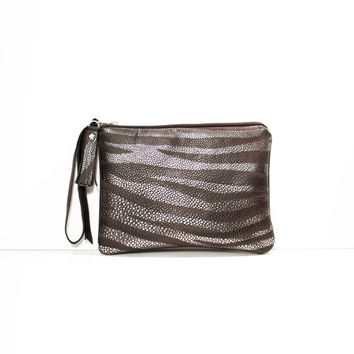 Zebra Metallic Leather Clutch // Silver Black Brown Wristlet // Valentine Day's // Wedding Bag // Bridesmaid
