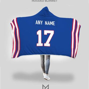 Buffalo Bills Hooded Blanket - Personalized Any Name & Any Number