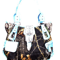 * Western Blue Camouflage Buckle Rhinestone Fashion Handbag