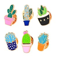 Colorful Enamel Pins Set Badge For Clothes Colorful Cartoon Brooches Succulents Plant Cactus Jacket Bag Badge