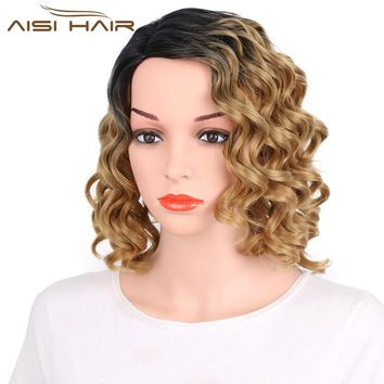 I's a wig Ombre Blonde Color  Synthetic  Afro Curly   Short  Wigs  For Black Women  Fluffy Hair High Temperature Fiber