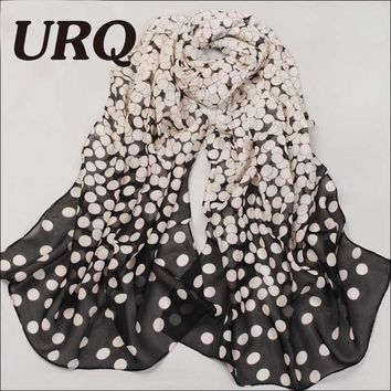 Summer Style Long Chiffon Silk scarves woman ombre polka dots Print long wrap scarfs P5A16238